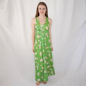 Vintage Mister Robert Green Floral Maxi Dress 0418